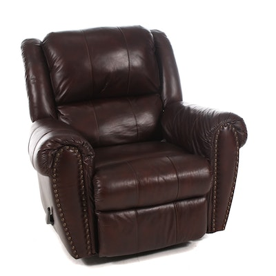 Brown Leather Swivel Reclining Armchair