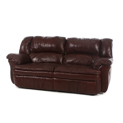 Contemporary Brown Leather Reclining Sofa