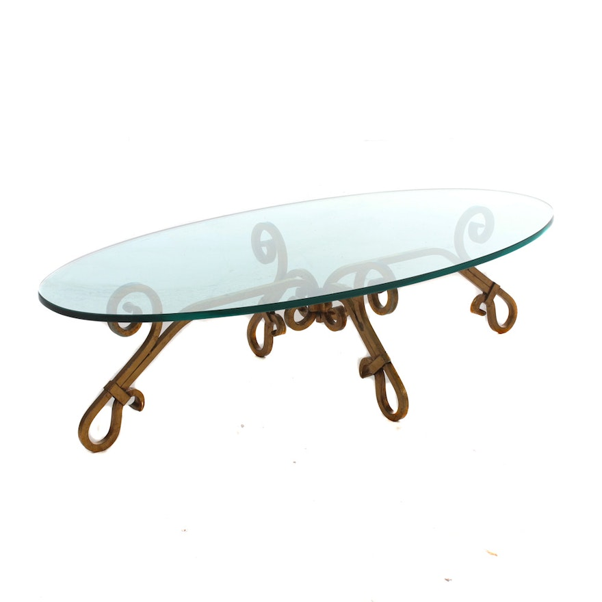 Scrolled and Gilt Metal Glass Top Coffee Table