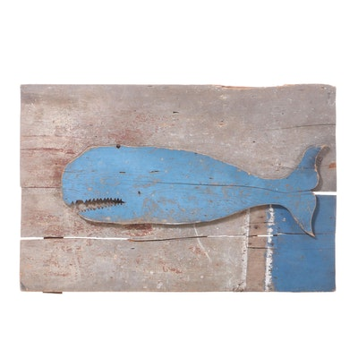 Folk Art Carved and Painted Whale Sign