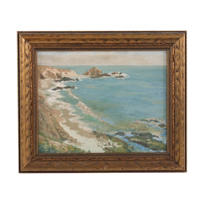 Coastal Scene Oil Painting, Mid-20th Century