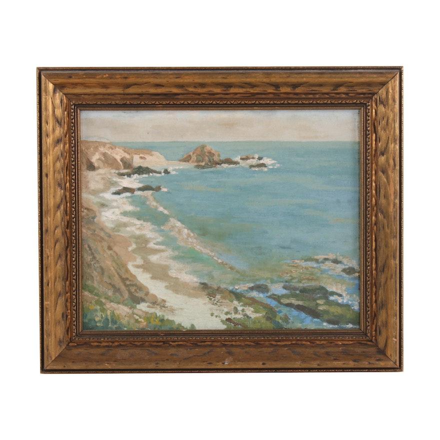 Coastal Scene Oil Painting, Mid-20th Century