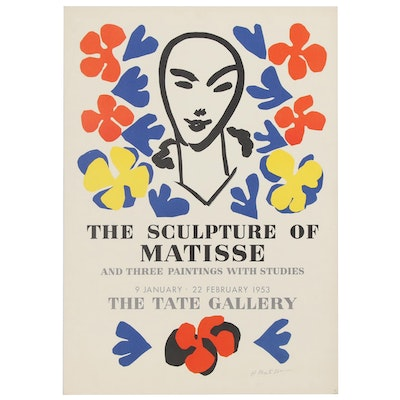 """Henri Matisse Tate Gallery """"The Sculpture of Matisse"""" Exhibition Poster, 1953"""