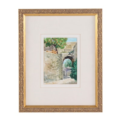 Stacy Lehman Stone Bridge Watercolor Painting