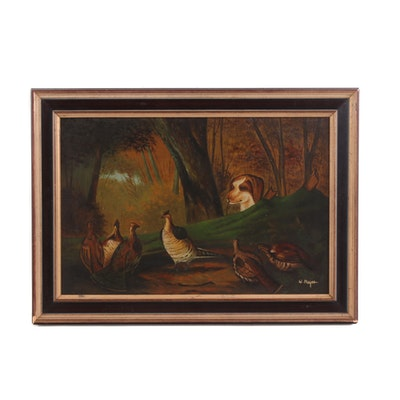 Oil Painting of a Hunting Dog with Quail