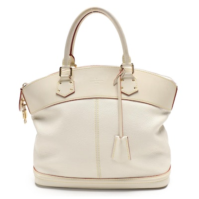Louis Vuitton Sac Lockit MM in White Suhali Goat Leather