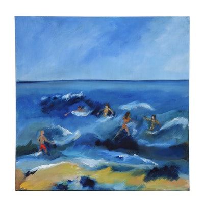 Figural Beachside Acrylic Painting