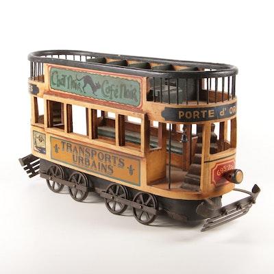 Painted Wood Parisian Trolley Car