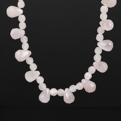 Sterling Silver Rose Quartz Fringe Necklace