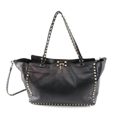 Valentino Garavani Rockstud Tote in Black Leather