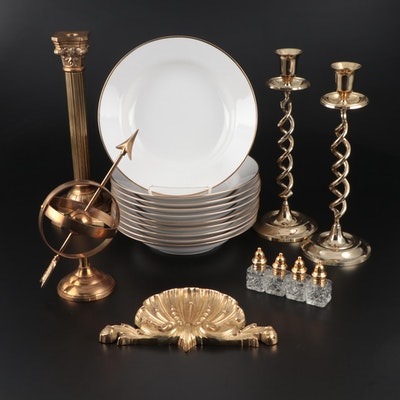Monno Porcelain Soup Bowls with Candlesticks, Armillary Sphere, and More