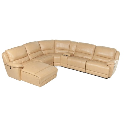 Tan Leather Six-Piece Reclining Sectional Sofa with Chaise