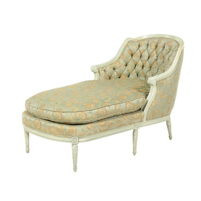 Louis XVI Style Painted and Custom-Upholstered Chaise Lounge