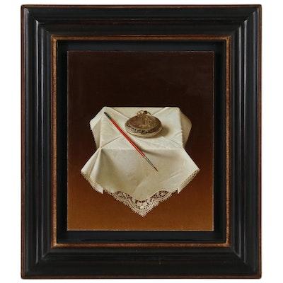 """Antonio Matallana Egg Tempera Painting """"Montre et Pinceau Rouge"""""""