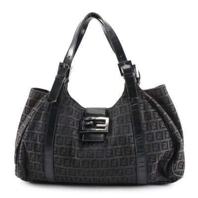 Fendi Piccola Bag in Black Zucca Canvas with Leather Trim