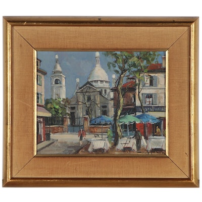 Street Scene Oil Painting of Montmartre, Paris