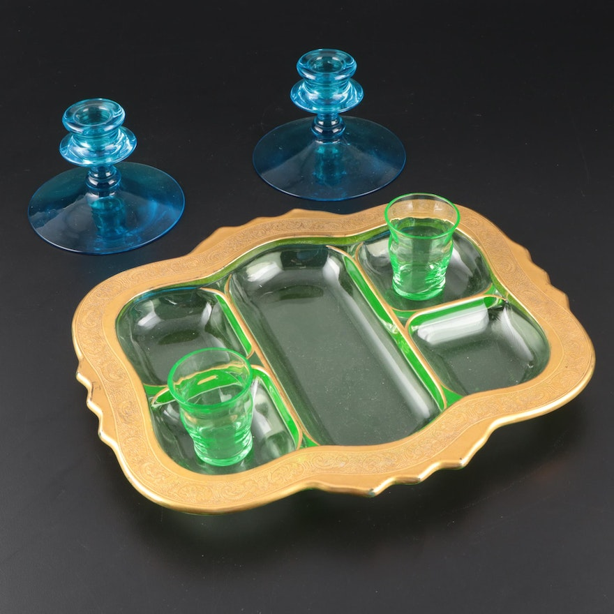 Encrusted Green Glass Serving Tray with Other Glass Candle Holders and Tumblers