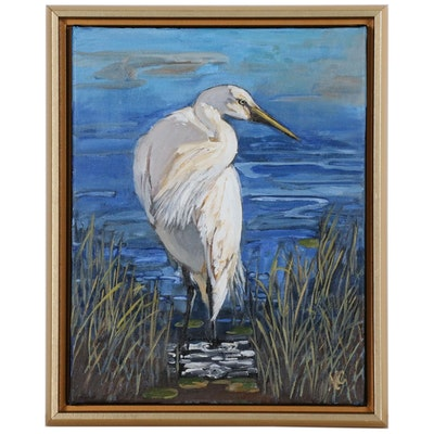 "Monica Cascio Wildlife Oil Painting ""Egret in Azure No. 1"""