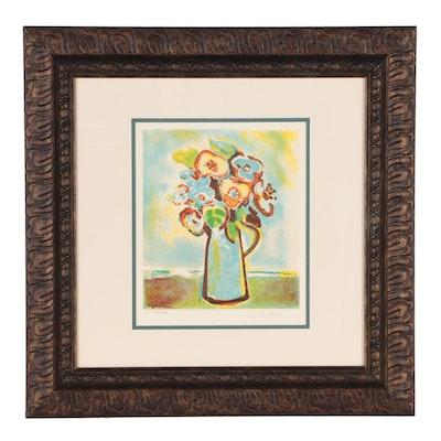 """Gerard Vieillevie Lithograph """"Le Petit Bouquet"""""""