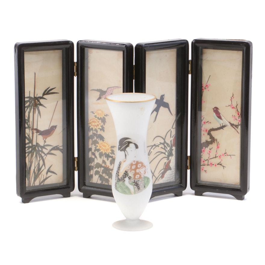Napcoware Glass Vase and Chinese Painted Snakeskin Four Seasons Table Screen
