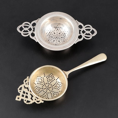 Watson Sterling Silver and S. B. & Co. Silver Plate Overcup Tea Strainers