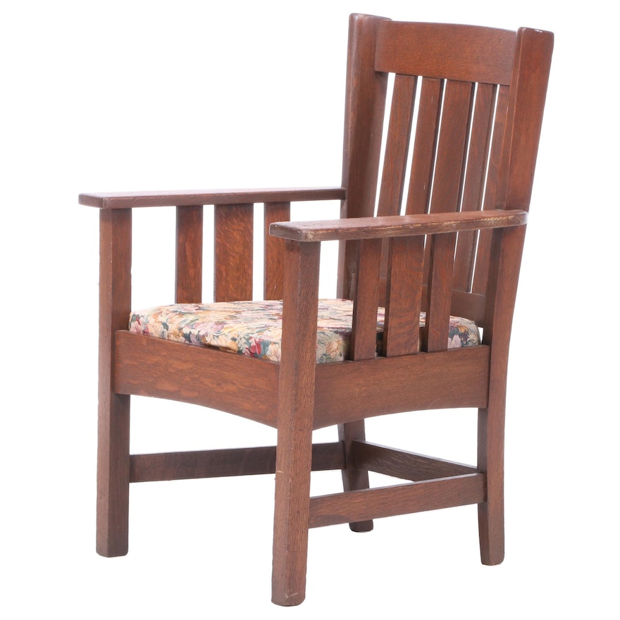Stickley Bros. Co. Arts and Crafts Oak Armchair