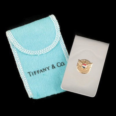 Tiffany & Co. Sterling and Diamond Money Clip with Gilt United Airlines Insignia