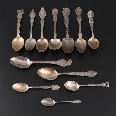 Sterling Silver Souvenir Spoons with Others, Late 19th/ Early 20th Century