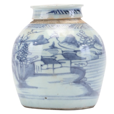 Chinese Lidded Blue and White Urn
