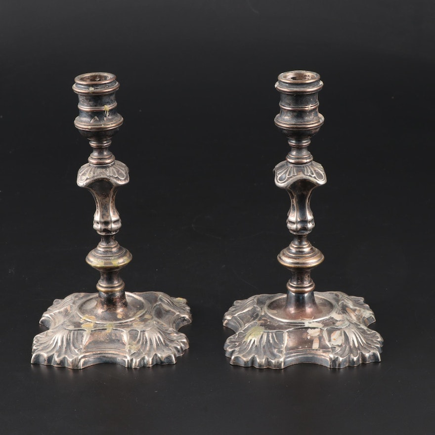 Baroque Style Silver Plate Candlesticks, Early 20th Century