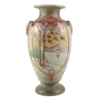 Moriage-Decorated Scenic Vase, Early 20th Century