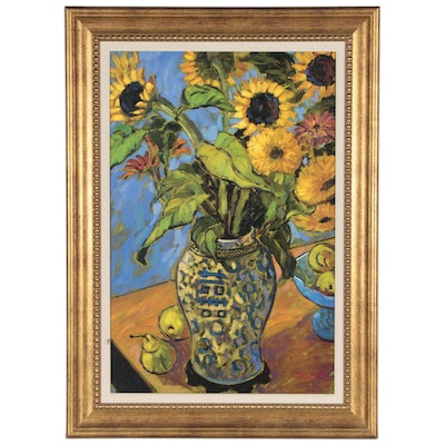Jae Dougall Oil Painting of Sunflowers