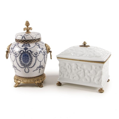 Ceramic and Brass Footed Jar and Box