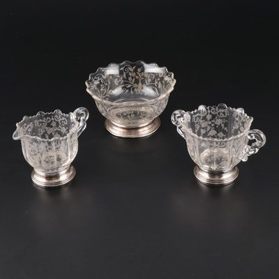 American Etched Glass Creamer, Sugar, and Waste Bowl with Sterling Bases