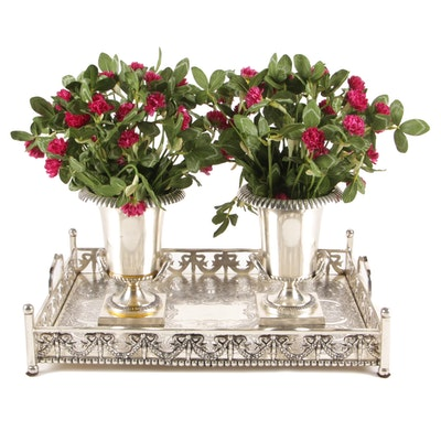Indian Silver Plate Tray with Artificial Clover in Calyx-Krater Vases