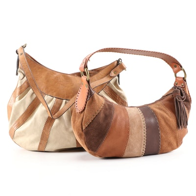 Fossil and Axcess Leather with Canvas and Suede Hobo Bags