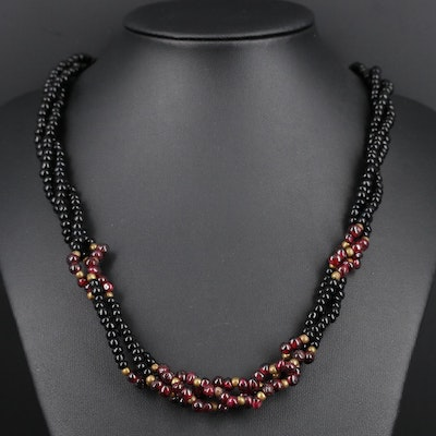 Rhodolite Garnet and Glass Multi-Strand Necklace
