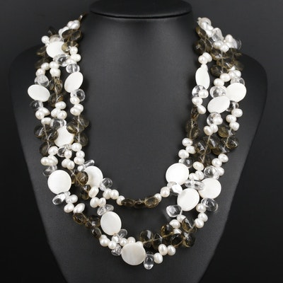 Multi-Strand Pearl, Rock Crystal Quartz and Mother of Pearl Necklace