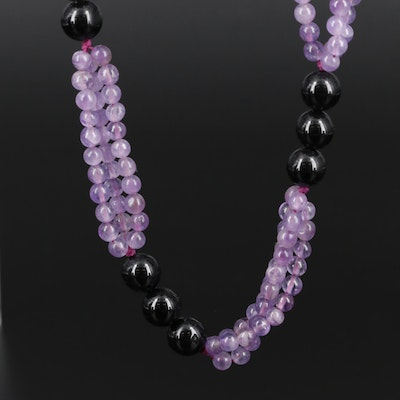 Endless Black Onyx and Amethyst Beaded Necklace