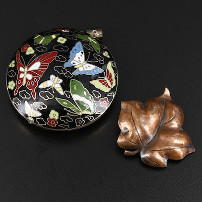 Cloisonné Butterfly Pendant with Leaf Brooch