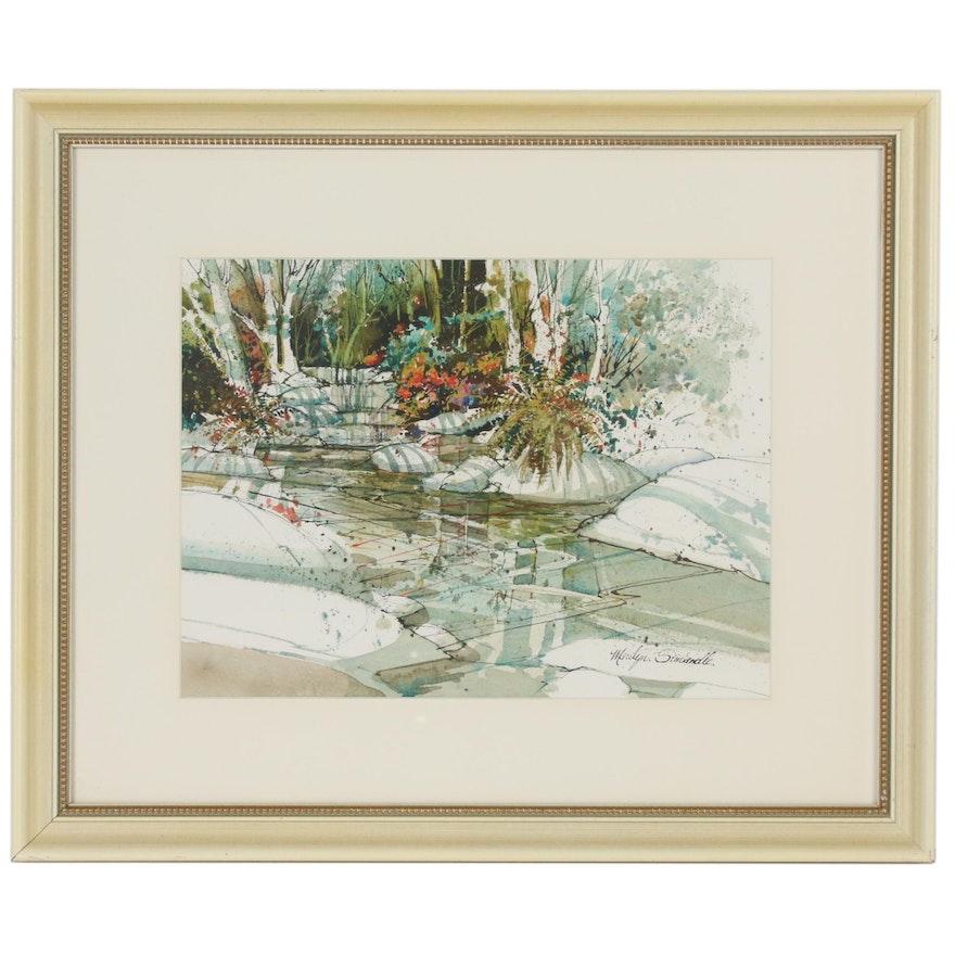 Marilyn Simandle Watercolor Painting of River