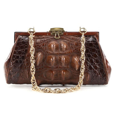 Hornback Crocodile Skin Handbag with Chain Strap, Vintage