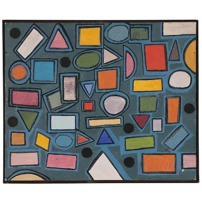 Modernist Geometric Abstract Oil Painting