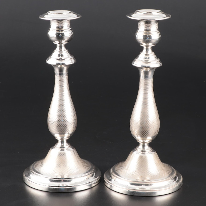 Berndorf Metalware Factory Engine Turned Silver Plate Candlesticks, Early 20th C