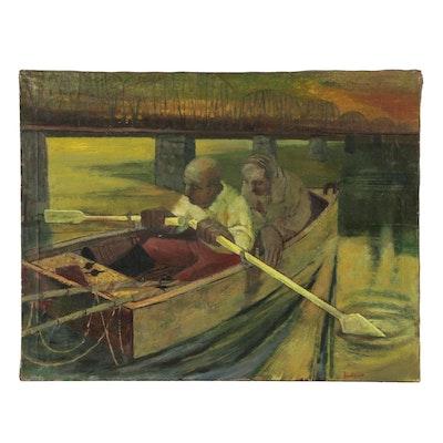 "James Snodgrass Oil Painting ""Fishermen"""