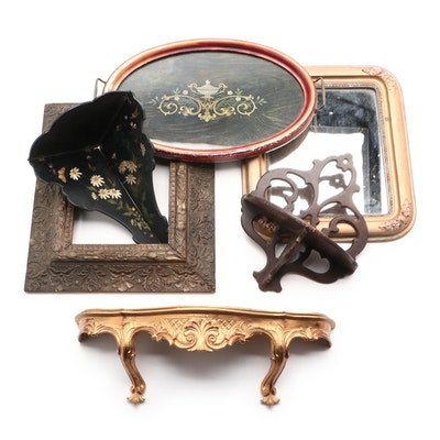 Victorian Style Gilt Mirror and Shelf with Other Home Décor