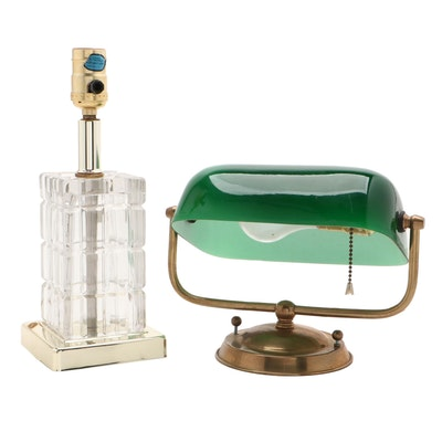 Portuguese Glass and Brass Accent Lamp with Green Cased Glass Banker's Lamp