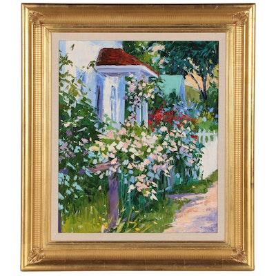 """Sandra Boschet Oil Painting """"Summer Sidewalk"""""""