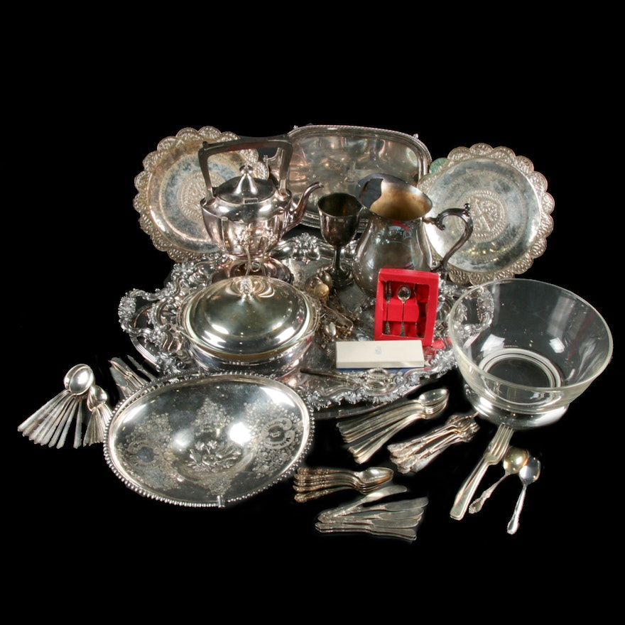 """Gorham """"Plymouth Bay"""" Silver Plate Waiter Tray with Silver Plate Collection"""