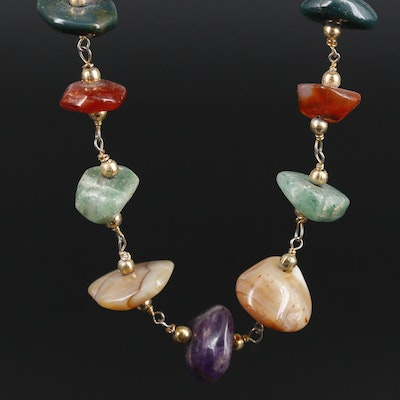 Gemstone Necklace Featuring Bloodstone, Agate and Amethyst